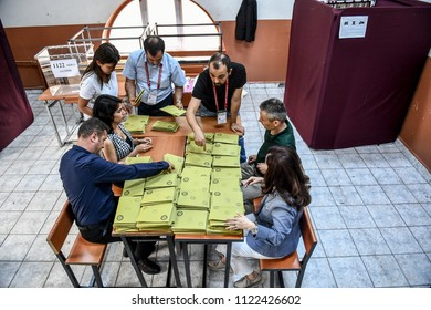 The president elections in Turkey was completed and began to count the votes 24 JUNE 2018 istanbul at turkey