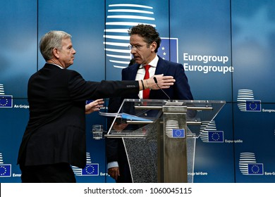 President of the Eurogroup, Jeroen Dijsselbloem gives a press conference at the results of Eurogroup finance ministers meeting at the European Council in Brussels, Belgium on Dec. 4, 2017.