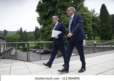 President of Eurogroup Mario Centeno  arrives to attend in 20th anniversary of Eurogroup at Castle of Senningen in Luxembourg on Jun. 21, 2018