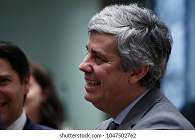 President of Eurogroup Mario Centeno attends in Eurogroup finance ministers meeting at the European Council in Brussels, Belgium on Jan. 22, 2018.