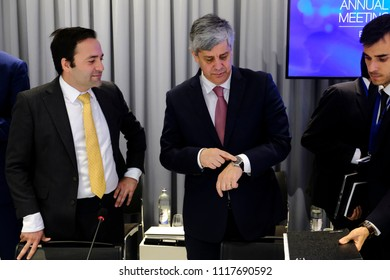 President of Eurogroup Mario Centeno attends in annual meeting of the European Stability Mechanism Board of Governors of an euro zone finance ministers meeting in Luxembourg on Jun. 21, 2018