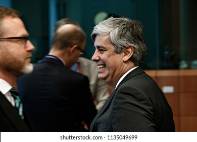 President of Eurogroup Mario Centeno attends in Eurogroup finance ministers meeting at the EU headquarters in Brussels, Belgium on Jul. 12, 2018