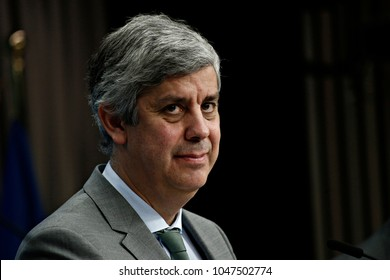 President of Eurogroup Mario Centeno gives a press conference at the end of Eurogroup finance ministers meeting at the European Council in Brussels, Belgium on Jan. 22, 2018.