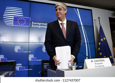 President of Eurogroup Mario Centeno gives a press conference at the end of Eurogroup finance ministers meeting at the European Council in Luxembourg on June 22, 2018
