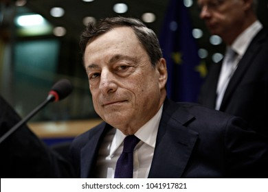 President of the European Central Bank, Mario Draghi delivers a speech at the European Parliament Committee on Economic and Monetary Affairs in Brussels, Belgium on May 29, 2017.