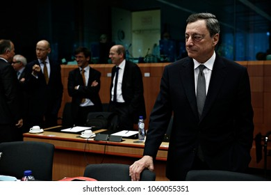 President of the European Central Bank, Mario Draghi attends in an Eurogroup finance ministers meeting at the European Council in Brussels, Belgium on May 22, 2017.