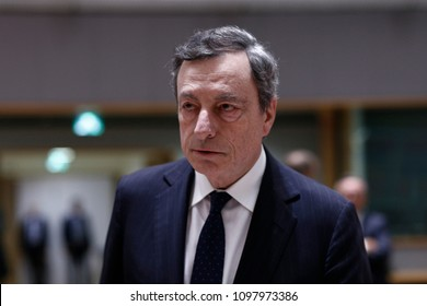 President of the European Central Bank, Mario Draghi attends in an Eurogroup finance ministers meeting at the European Council in Brussels, Belgium on May 24, 2018.
