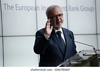 President of the European Investisment Bank (EIB), Werner Hoyer, speaks during the annual press conference of the EIB in Brussels, Belgium on Jan. 24, 2017