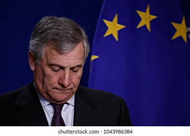 The President of the European Parliament, Antonio Tajani attends a press conference  at the European Parliament in Brussels, Belgium on Jan. 30, 2017