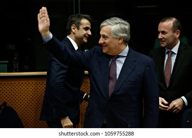 President of the European Parliament, Antonio Tajani attends in  Naming Konstantinos Mitsotakis room at the European Parliament in Brussels, Belgium on Nov. 30, 2017.