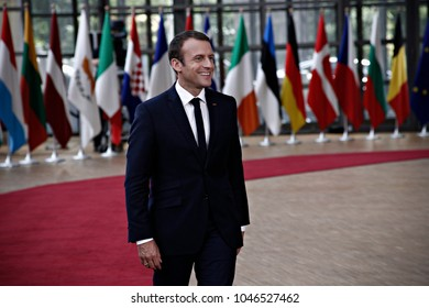 President of France, Emmanuel Macron arrives for a meeting with European Union leaders in Brussels, Belgium on June 22, 2017