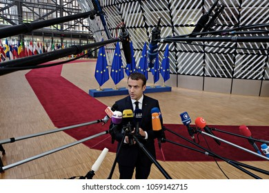 President of France, Emmanuel Macron arrives for a summit of European Union (EU) leaders in Brussels, Belgium on June 22, 2017