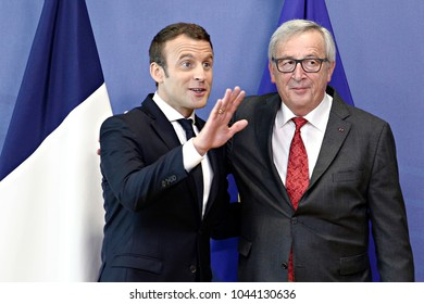 President of France Emmanuel Macron meets the European Commission President Jean-Claude Juncker  at the EU Commission headquarters in Brussels, Belgium on May 25, 2017