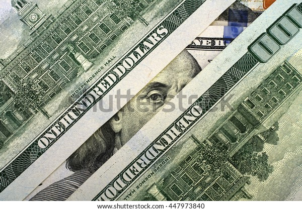 President Franklin peeping with a hundred dollar bill