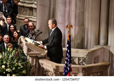 President George HW Bush eulogizes his father president HW Bush at his funeral at Washington National Cathedral