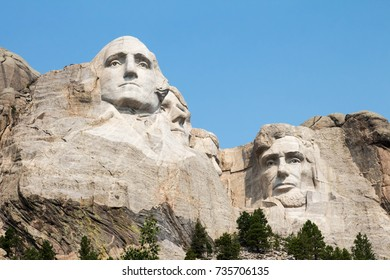 President George Washington and Abraham Lincoln on Mount Rushmore in South Dakota