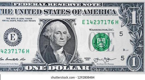 President George Washington on US 1 dollar bill close up, Unites States federal fed reserve note.