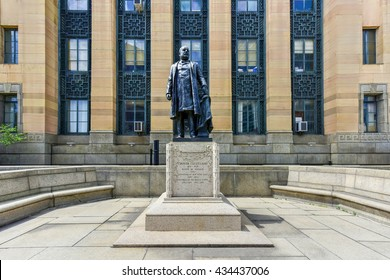 President Grover Cleveland Monument before Buffalo City Hall, the seat for municipal government in the City of Buffalo, New York.