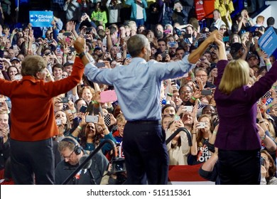 President Holds Hands Up High At End Of Speech, Political Rally at UNH, Durham, NH, 11/07/2016