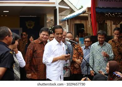 President of Indonesia Joko Widodo giving press conference at Tumang Village, Boyolali, Central Java, 7 July 2017