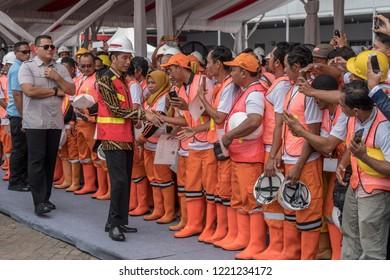 President Joko Widodo or Jokowi Opened the 10,000 Construction Workers Certification Program at the event Indonesia Infrastructure Week, Jakarta International Expo (JIExpo) Kemayoran 31 Oktober 2018