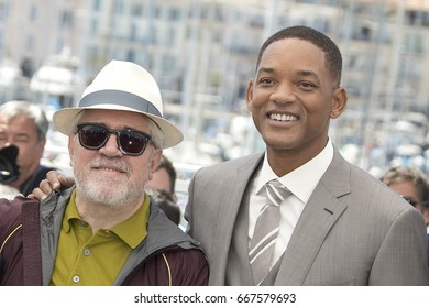 President of the jury Pedro Almodovar and jury member Will Smith  attend the Jury photocall during the 70th annual Cannes Film Festival at Palais des Festivals on May 17, 2017 in Cannes, France.