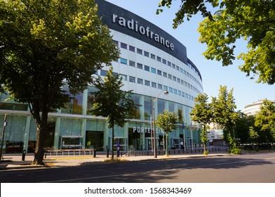 President Kennedy Avenue, Paris, France - June 2019 - Glass entry vestibule Porte de Seine of the Radio House (Maison de la Radio or Maison de Radio France), headquarters of the French public radio