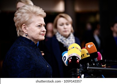 President of Lithuania, Dalia Grybauskaite arrives for a summit of European Union (EU) leaders in Brussels, Belgium on Mar. 9, 2017
