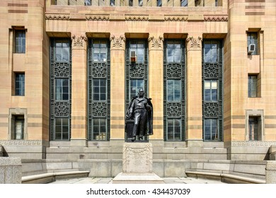 President Millard Fillmore Monument before Buffalo City Hall, the seat for municipal government in the City of Buffalo, New York.