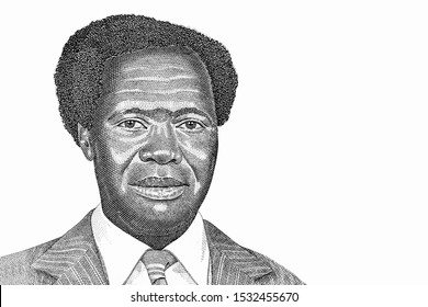 President Milton Obote. Portrait from Uganda 500 Shillings 1983 Banknotes. An Old paper banknote, vintage retro. Famous ancient Banknotes. Collection.