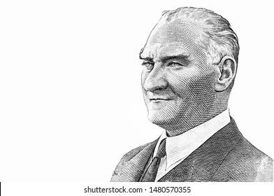President Mustafa Kemal Ataturk portrait from 10 Turkish lira Banknotes. First President of Turkey turkish money Closeup Collection.