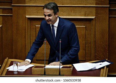 President of New Democracy, Kyriakos Mitsotakis gives a speech in the plenary of Greek parliament about corruption in Athens, Greece on Oct. 10, 2016