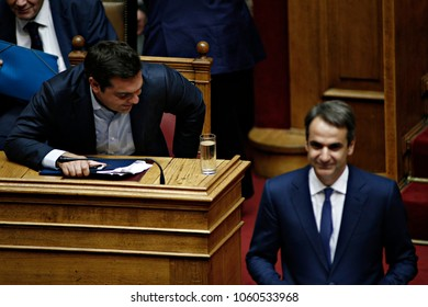 President of New Democracy, Kyriakos Mitsotakis attends in debate in the plenary of Greek parliament about corruption in Athens, Greece on Oct. 10, 2016