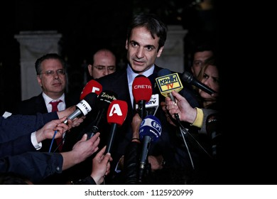 President of New Democracy, Kyriakos Mitsotakis  arrives to attends in a political leaders' meeting in the Presidential Mansion in Athens, Greece on Nov. 28, 2015