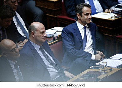 President of New Democracy, Kyriakos Mitsotakis attends in a discussion at the plenary hall of the Greek parliament in Athens, Greece on Oct. 10, 2016
