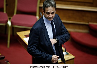 President of New Democracy, Kyriakos Mitsotakis attends in a discussion at the plenary hall of the Greek parliament in Athens, Greece on Dec. 22, 2015