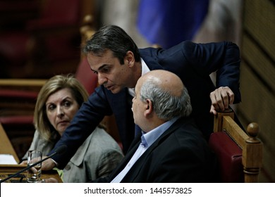 President of New Democracy, Kyriakos Mitsotakis attends in a discussion at the plenary hall of the Greek parliament in Athens, Greece on Jul. 21, 2016
