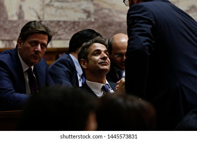 President of New Democracy, Kyriakos Mitsotakis attends in a discussion at the plenary hall of the Greek parliament in Athens, Greece on Oct. 3, 2015
