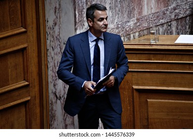 President of New Democracy, Kyriakos Mitsotakis attends in a discussion at the plenary hall of the Greek parliament in Athens, Greece on Aug. 3, 2017