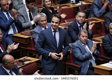 President of New Democracy, Kyriakos Mitsotakis attends in a discussion at the plenary hall of the Greek parliament in Athens, Greece on Oct. 10, 2015