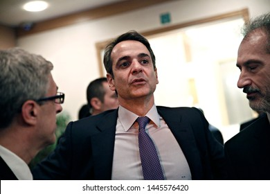 President of New Democracy  Kyriakos Mitsotakis gives a speech in Greeks which live Brussels, Belgium on Nov. 29, 2016