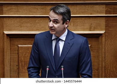 President of New Democracy, Kyriakos Mitsotakis attends in a discussion at the plenary hall of the Greek parliament in Athens, Greece on Sep. 25, 2017