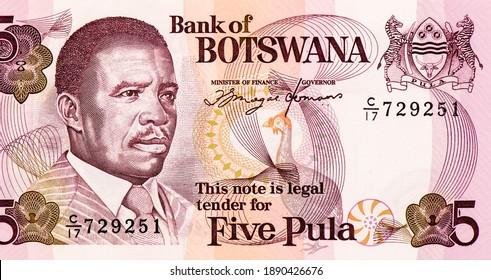 President Quett Ketumile Joni Masire, Portrait from Botswana 5 Pula 1982 Banknotes.