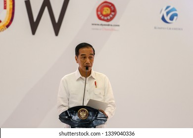 The President of the Republic of Indonesia Joko Widodo delivered a speech during the opening ceremony of the Indonesia International Motor Show in Jakarta on April 19, 2018