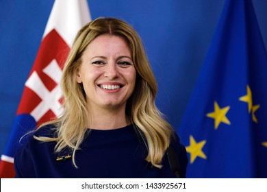 President of the Slovak Republic Zuzana Caputova and EU Commission President Jean-Claude Juncker give a joint press conference at the end of their meeting in Brussels, Belgium on Jun. 25 2019