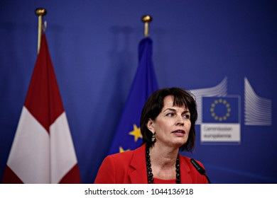 President of the Swiss Confederation Doris Leuthard holds a press conference at the EU Commission headquarters in Brussels, Belgium on Apr. 06, 2017