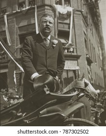 President Theodore Roosevelt delivering a speech from a carriage, Willimantic, CT., Aug. 23, 1902. He was at the beginning of his 600 mile speaking tour through New England, prior to the mid-term elec