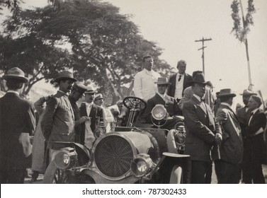 President Theodore Roosevelt standing in a car at Caguas, Puerto Rico, Nov. 21-22, 1906. At the time Puerto Rico was a US protectorate with its own civilian government. During his visit, TR recommende