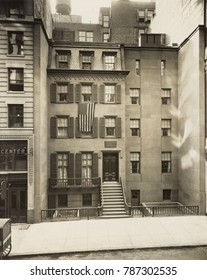 President Theodore Roosevelts was born and raised in a townhouse at 28 E. 20th St., New York City. Photo of the building in 1923, the year the building was designated a historic site