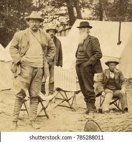 President Theodore Roosevelts camp near Losser Creek in Yellowstone National Park, April 1903. L-R: The President; Major John Pitcher, park superintendent; John Burroughs, naturalist; and TRs friend,